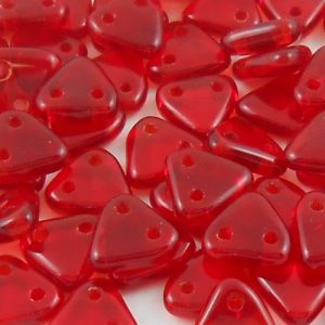 czechmates-2-hole-triangle-beads-transparent-ruby